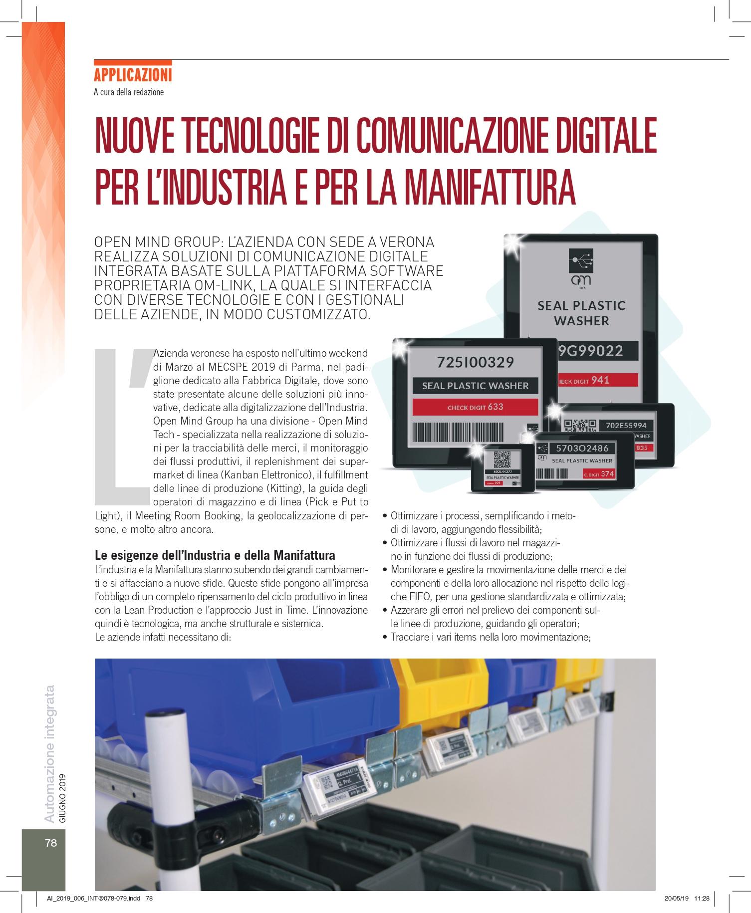 Articolo Magazine Automazione Integrata Pag.78