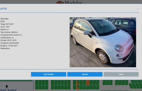 Schermata software localizzazione outdoor e tracciabilità